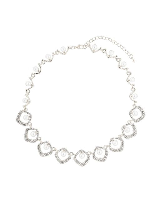 Mikey | Metallic Oval Rect Crystal Pearl Centre Necklace | Lyst