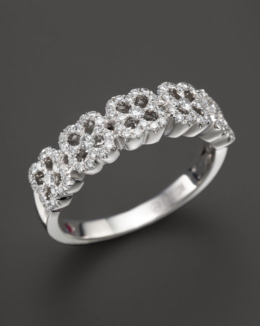 Roberto Coin   18k White Gold Pave Diamond Ring   Lyst