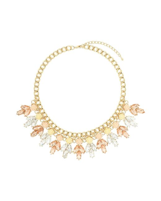 Mikey | Metallic Crystal Enamel Flowers Linked Choker | Lyst