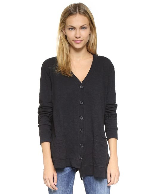 Wilt | Black Slouchy Slub Cardigan - Grey Heather | Lyst
