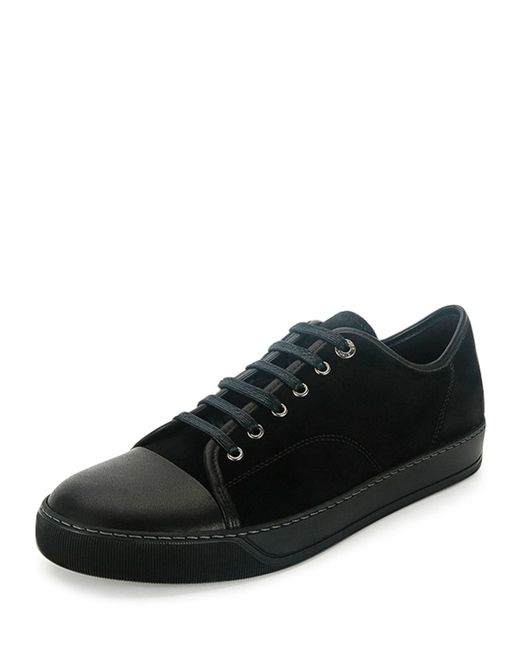 Lanvin Leather Low Top Sneakers In Black For Men Lyst