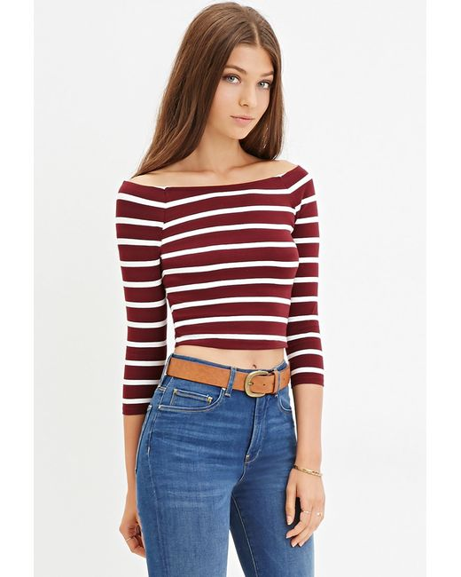 Forever 21 | Purple Striped Crop Top | Lyst