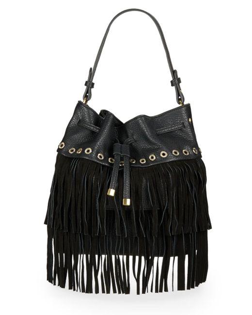 Sondra Roberts | Black Studded Fringe Bucket Bag | Lyst