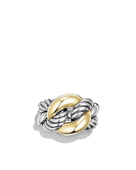 David Yurman | Metallic Belmont Curb Link Ring With 18k Gold | Lyst