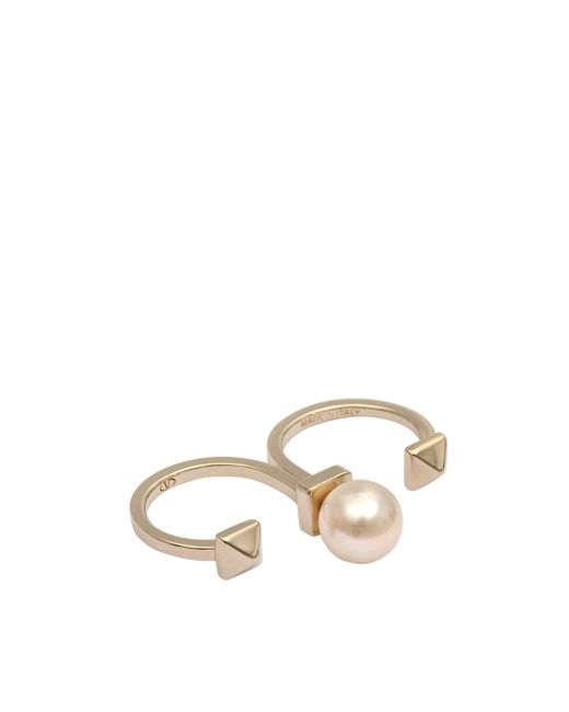 Valentino | Metallic Rockstud Pearl Double Ring | Lyst
