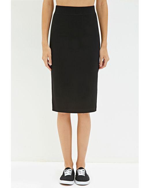 Forever 21 | Black Stretch Knit Knee-length Skirt | Lyst