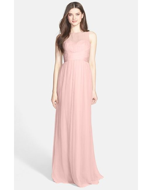 Amsale | Pink Illusion Yoke Crinkled Silk Chiffon Gown | Lyst