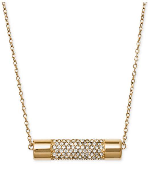 Michael Kors | Metallic Gold-tone Crystal Cylinder Pendant Necklace | Lyst