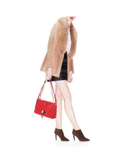 Jimmy Choo | Rebel Soft/s Red Washed Crinkled Leather Shoulder Bag | Lyst