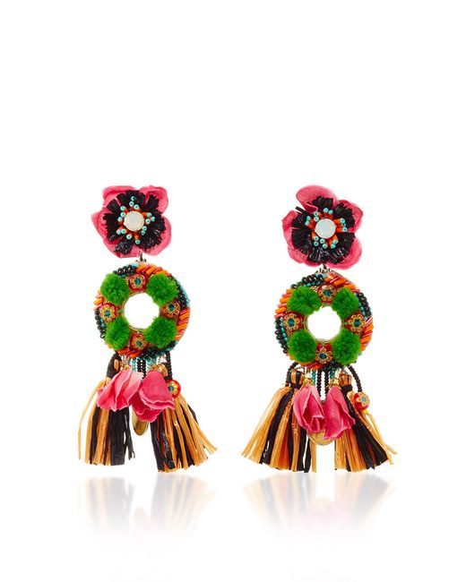 Ranjana Khan | Green Pom-pom Clip-on Drop Earrings | Lyst