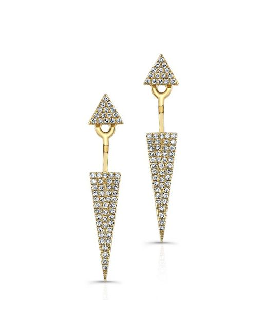 Anne Sisteron - Metallic 14kt Yellow Gold Diamond Double Triangle Floating Earrings - Lyst