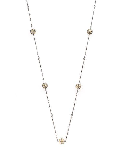 Freida Rothman | Metallic Pavé Leaf Station Necklace | Lyst