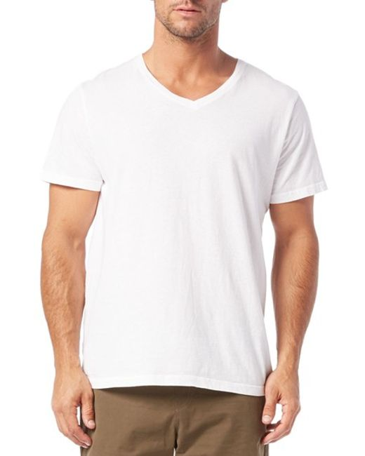 Michael stars v neck t shirt in white for men adriatic for Michael stars tee shirts