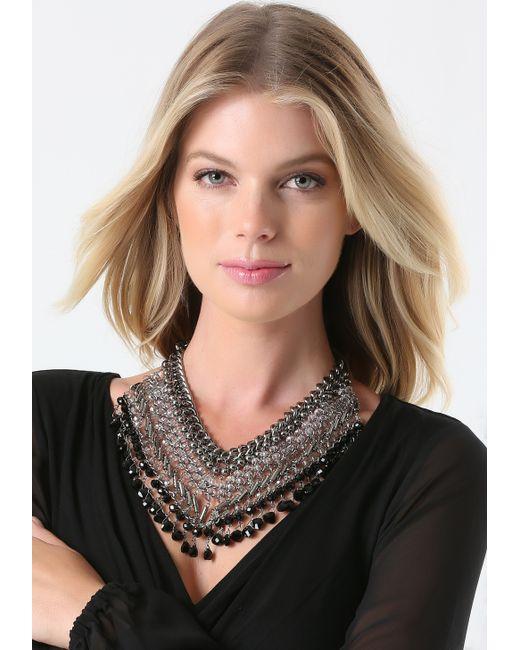 Bebe | Metallic Beaded Bib Necklace | Lyst