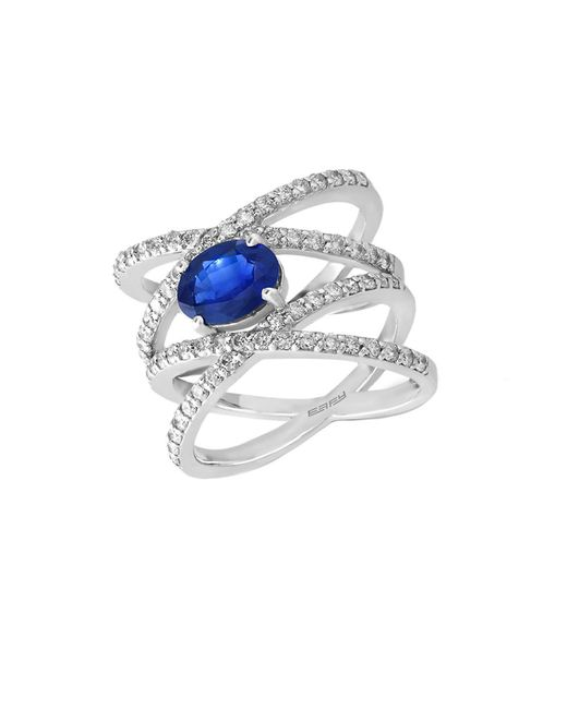 Effy | Metallic Royale Bleu Sapphire, Diamond And 14k White Gold Ring, 1tcw | Lyst