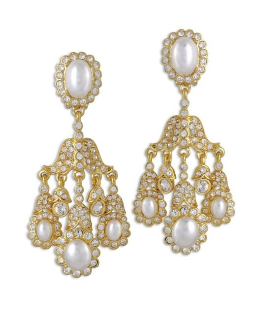 Kenneth Jay Lane | Metallic Crystal And Pearl Chandelier Clip Earring | Lyst