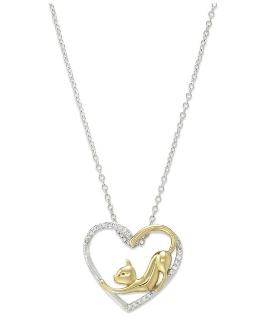 Macy's | Metallic Aspca® Tender Voices® Diamond Cat Heart Pendant Necklace In 10k Gold-plated Sterling Silver (1/10 Ct. T.w.) | Lyst