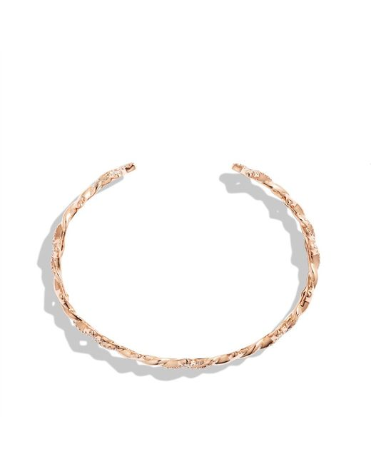 David Yurman | Pink Venetian Quatrefoil Single-row Cuff Bracelet With Diamonds In 18k Rose Gold, 9mm | Lyst