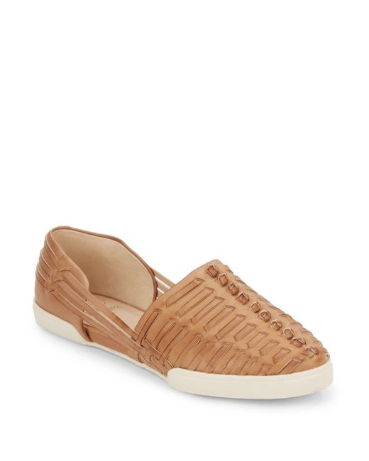 Elliott Lucca | Brown Woven Leather Flats | Lyst