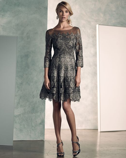 Kay Unger 3 4 Sleeve Lace A Line Cocktail Dress In Gray Lyst