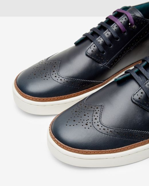 Ted Baker Leather Brogue Trainers In Blue For Men Lyst