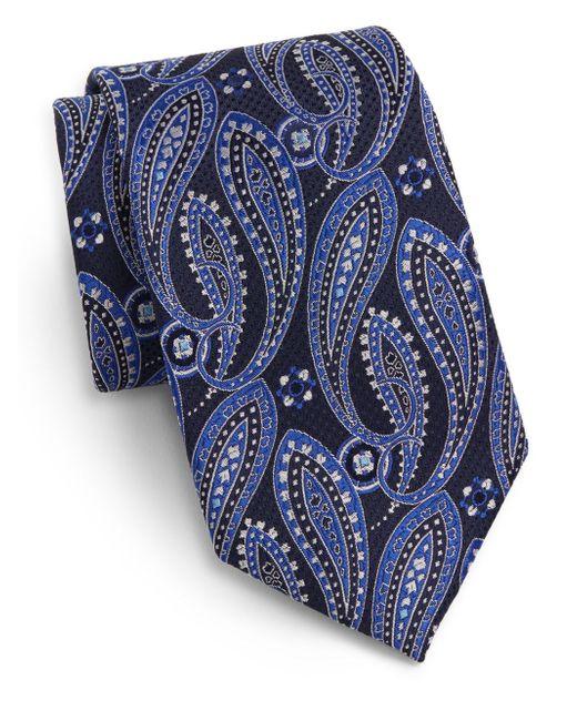 Saks Fifth Avenue | Blue Paisley Neat Silk Tie for Men | Lyst