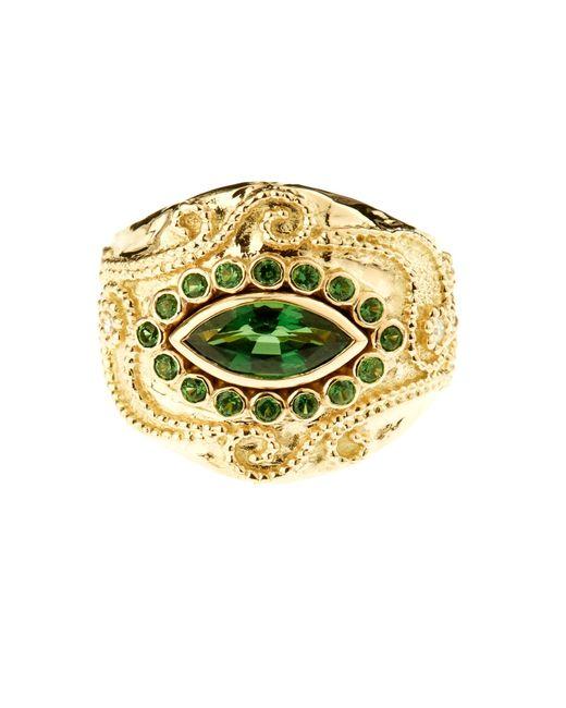 Aurelie Bidermann | Metallic Cashmere Tourmaline And Diamonds Yellow-gold Ring | Lyst