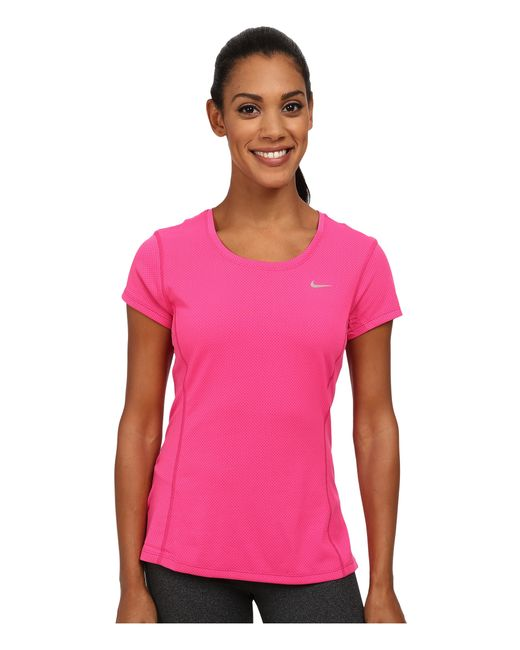Nike | Pink Dri-fit™ Contour Short Sleeve | Lyst