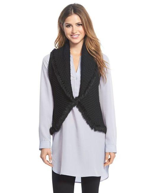 Love Token   Black Knit Vest With Genuine Rabbit Fur Trim   Lyst
