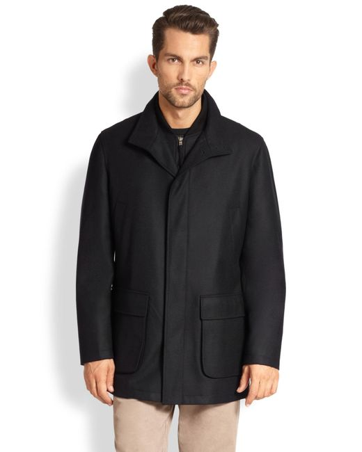 Saks Fifth Avenue | Black Wool Overcoat for Men | Lyst