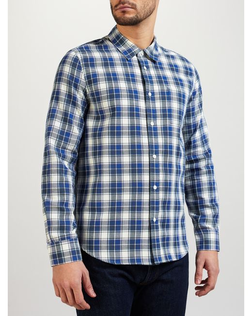 Levi 39 s made crafted shirt in blue for men white blue for Levis made and crafted shirt