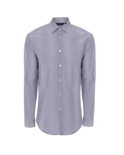 Paul smith men 39 s navy and white seersucker stripe shirt in for Mens seersucker shirts on sale