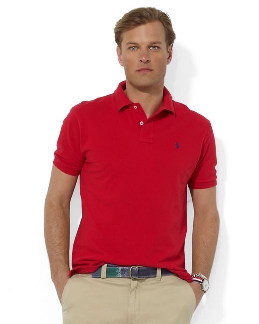 Polo Ralph Lauren | Red Classic-fit Cotton Mesh Polo for Men | Lyst