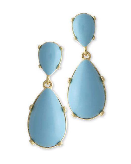 Kenneth Jay Lane | Blue Turquoise Teardrop Pierced Earring | Lyst