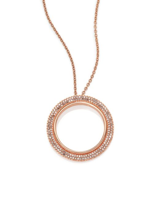 Astley Clarke | Pink Rising Sun Diamond & 14k Rose Gold Double Eclipse Pendant Necklace | Lyst
