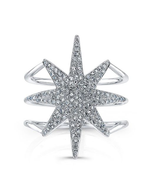 Anne Sisteron | Metallic 14kt White Gold Diamond Star Ring | Lyst