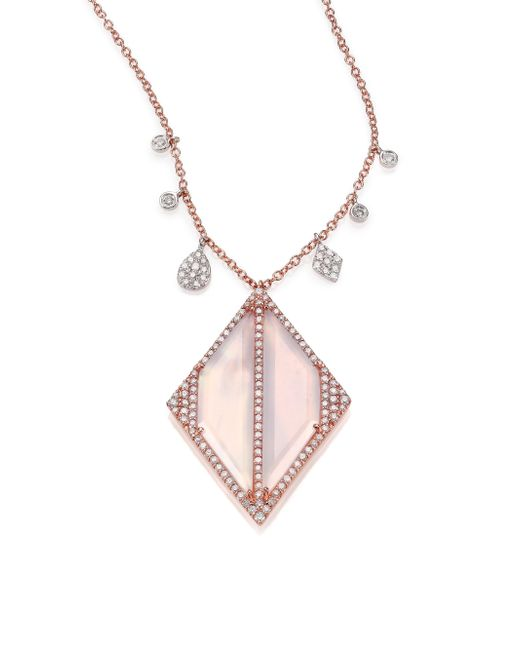 Meira T | Pink Chalcedony, Mother-of-pearl, Diamond & 14k Rose Gold Geometric Doublet Pendant Necklace | Lyst