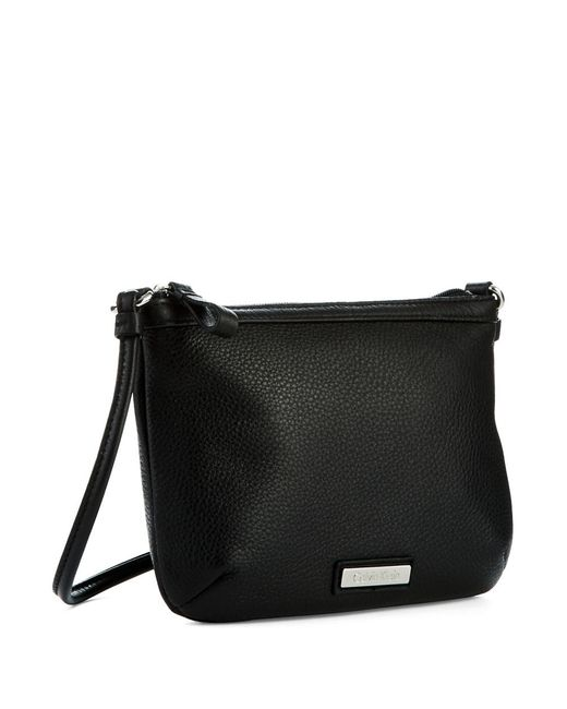 Calvin Klein | Black Textured Leather Crossbody | Lyst