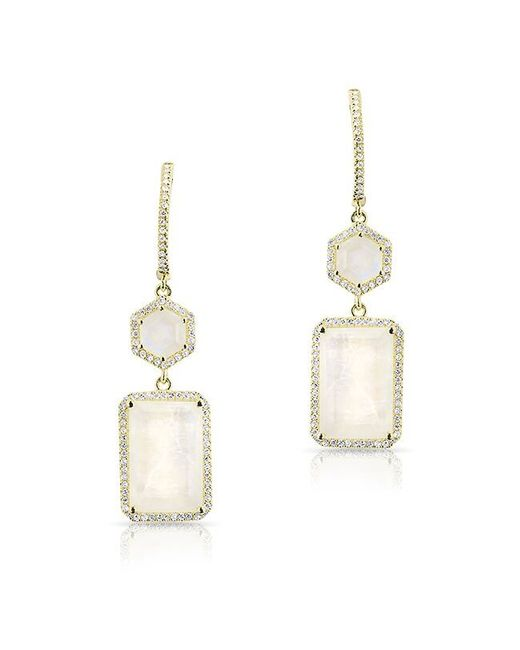 Anne Sisteron | Metallic 14kt Yellow Gold Moonstone Diamond Mini Geometric Earrings | Lyst