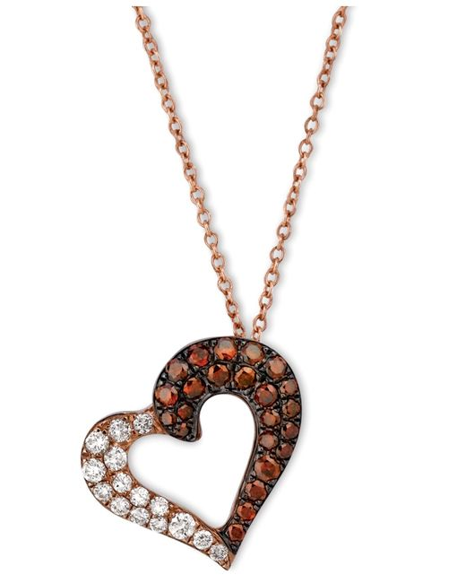 Le vian Exotics® Red And White Diamond Heart Necklace (3/8 ...