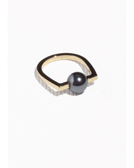 & Other Stories | Metallic Angular Pearl Bead Ring | Lyst