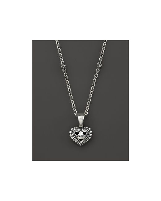 Lagos | Metallic Sterling Silver Signature Caviar Heart Pendant Necklace, 16"