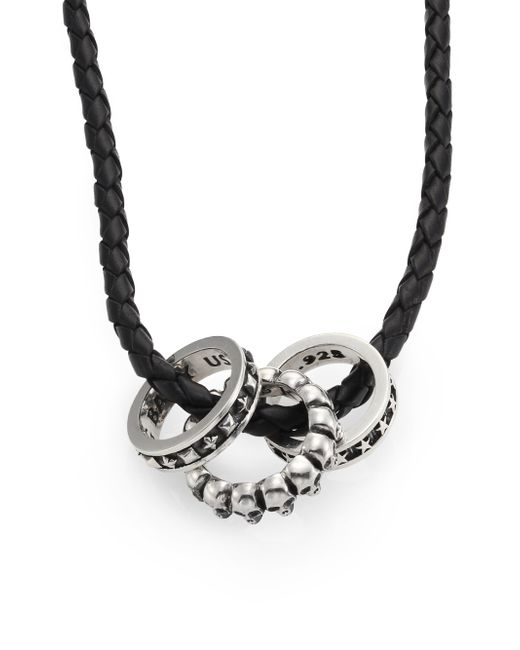 King Baby Studio | Black Sterling Silver Rings  Braided Leather Necklace | Lyst