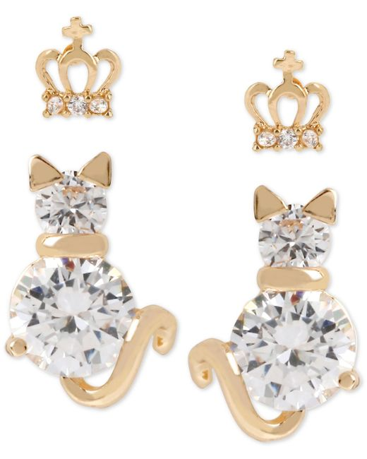 Betsey Johnson | Metallic Gold-tone Crystal Crown And Cat Stud Earring Set | Lyst