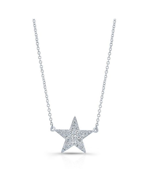 Anne Sisteron | Metallic 14kt White Gold Diamond Star Necklace | Lyst