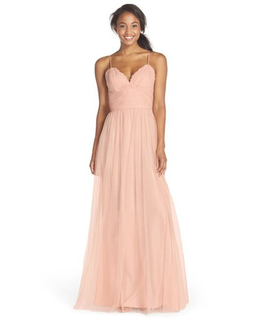 Amsale | Pink Lace and Tulle Spaghetti Strap Gown | Lyst