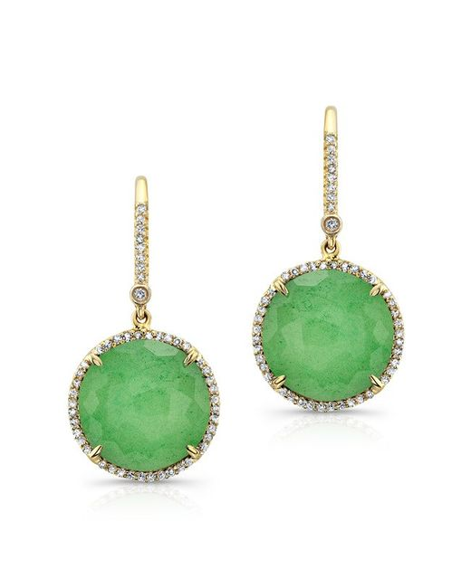 Anne Sisteron - Green 14kt Yellow Gold Chrysoprase Diamond Round Earrings - Lyst