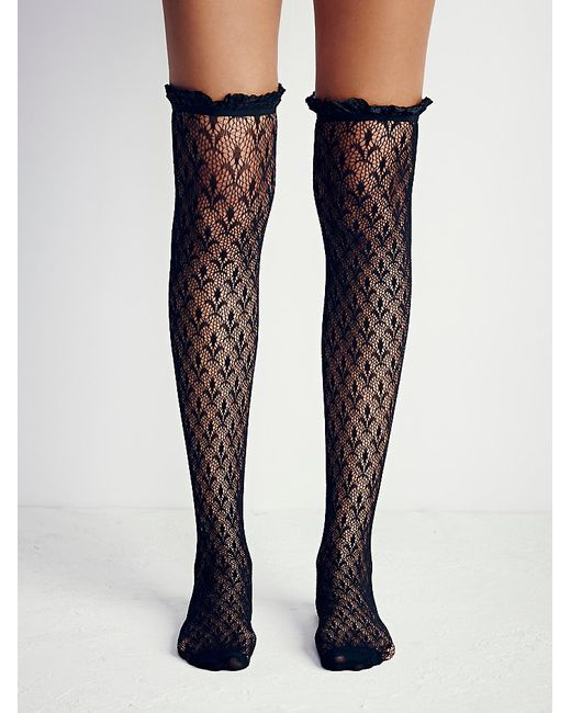 Free People | Black Lacestation Over The Knee Sock | Lyst