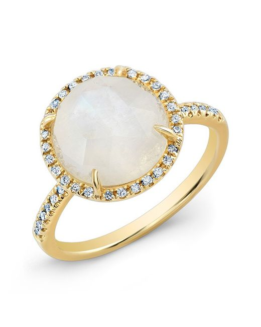 Anne Sisteron | Metallic 14kt Yellow Gold Rainbow Moonstone Diamond Cocktail Ring | Lyst
