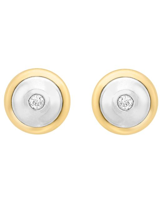 Ib&b | Metallic 9ct Gold Cubic Zirconia Disc Stud Earrings | Lyst